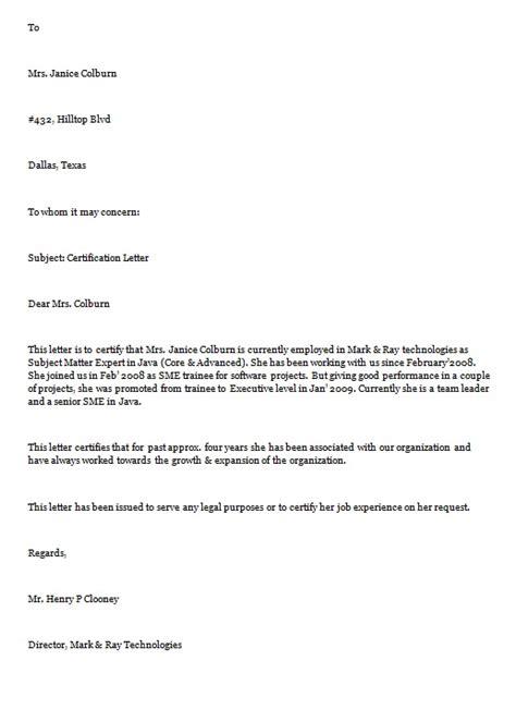 certification letter  sample letters