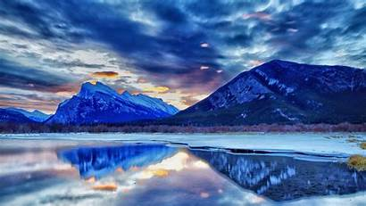 Canada Banff Alberta Mountains Backgrounds Reflection 1080