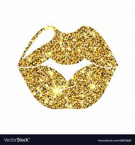Gold glitter lips golden sparcle kiss Royalty Free Vector