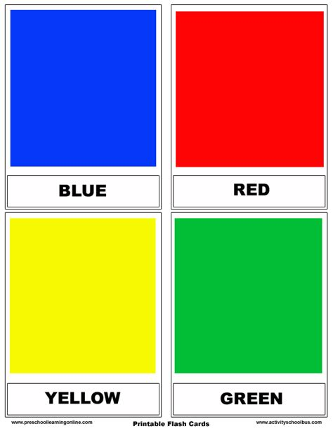 Teaching Colors Printables  Printable Color Flashcards For Preschoolerscolors Flashcards