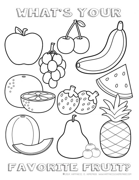 fruit coloring page happiness  homemade teacher