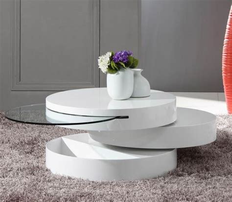 modern white round coffee table white round modern rotating coffee table with storage