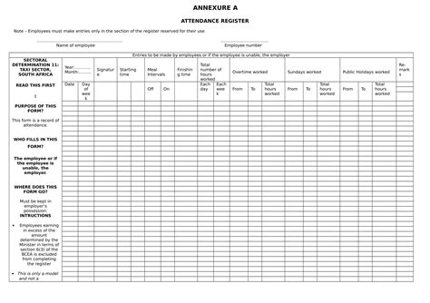 employee attendance form examples  word examples