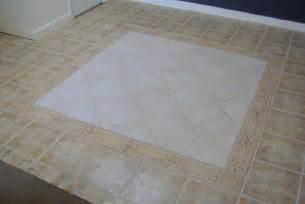 look ceramic tile floor with border tile in rug pattern