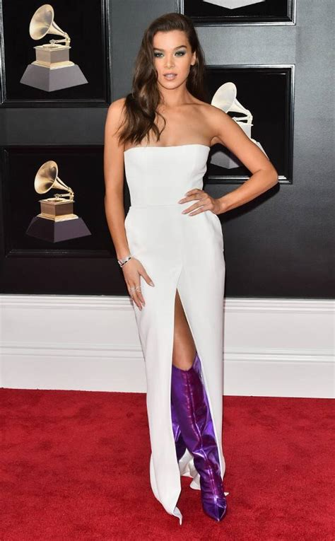hailee steinfeld grammy awards carpet bumblebee grammys music transformers songs movie eonline purple boots much dresses reveals coming perform strapless