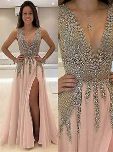 buy a line deep v neck sweep train sleeveless pink tulle With robe de cocktail combiné avec perle pandora rose