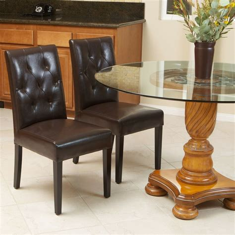 leather dining room chair set of 2 brown leather dining room chairs with