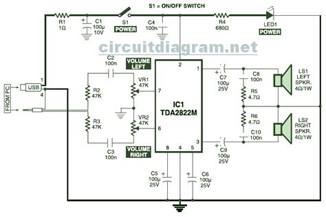 usb powered stereo computer speaker circuit schematic