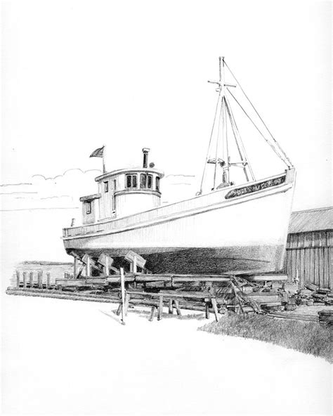 Boat Drawing By Pencil by Chesapeake Buy Boat Dock Pencil Drawing Of