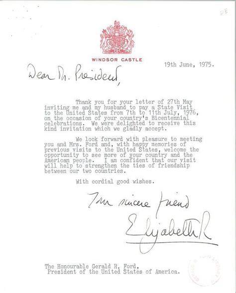 letter  queen elizabeth ii accepting president fords