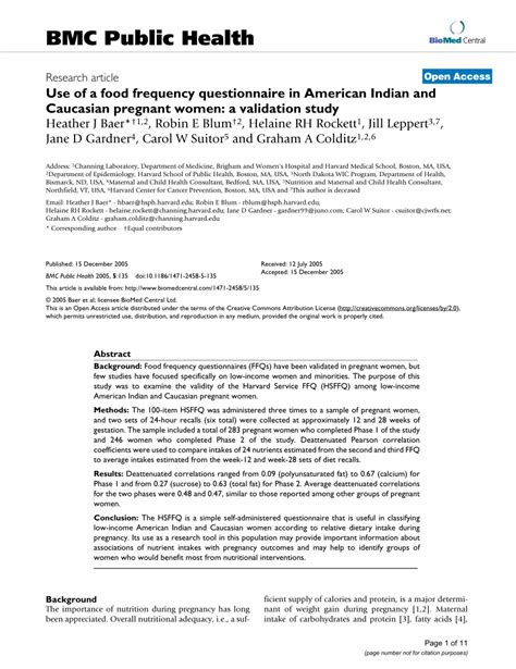 (PDF) Use of a food frequency questionnaire in American