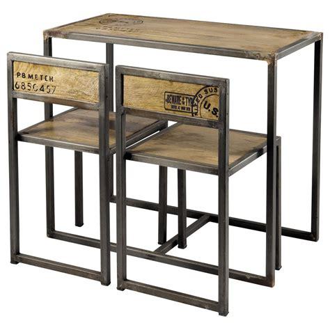 table et chaises salle à manger table de salle à manger 2 chaises en manguier et métal l