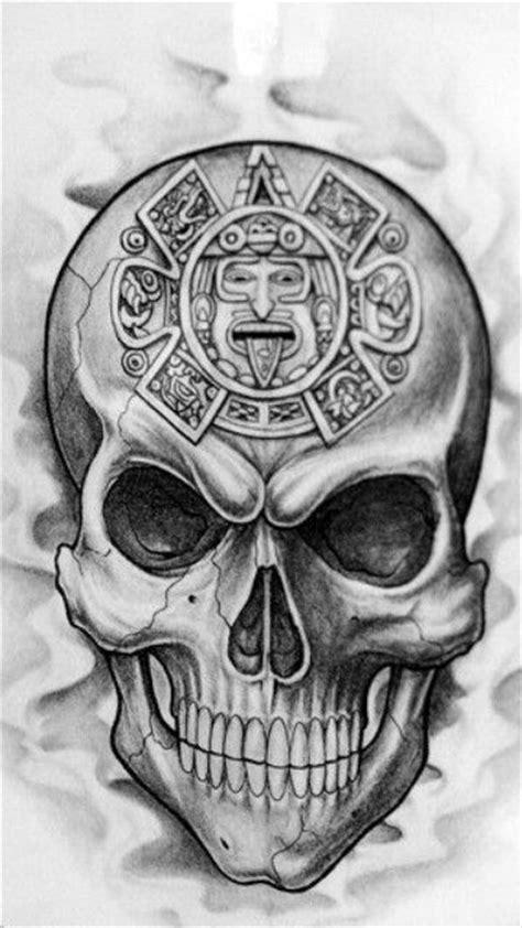 Skull with Aztec Calendar | Skulls & Skeletons | Pinterest
