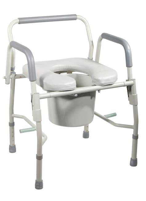 steel drop arm bedside commode with padded seat arms