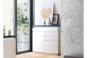 Grande Commode Blanche : commode grise et blanche lumineuse pour meuble de rangement ~ Teatrodelosmanantiales.com Idées de Décoration