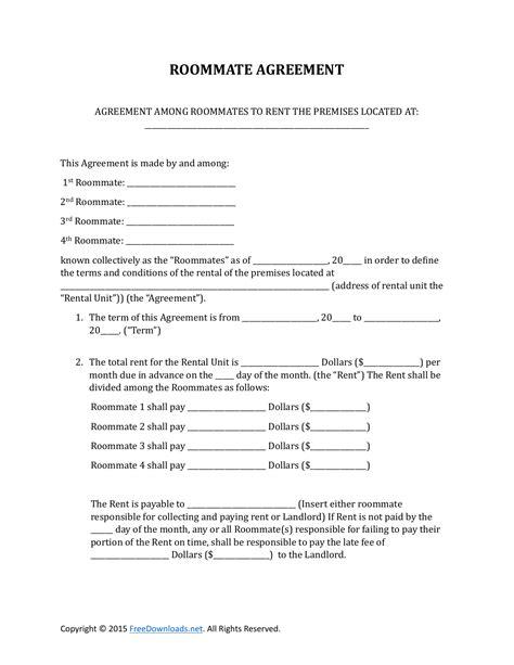 roommate rental lease agreement form  rtf