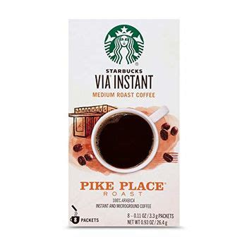 This smooth bodied blend has subtle cocoa and toast nut flavors and is brewed fresh daily in starbucks stores across the country. Coffee - Starbucks VIA Instant Medium Roast Coffee Pike Place Coffee Box ( 8 X 3.3g ), 26.4g buy ...