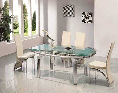 donato extending glass chrome dining room table  chairs