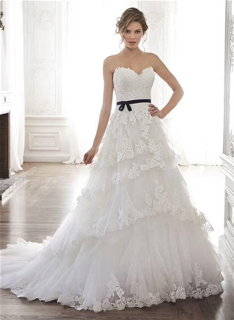 princess   strapless tulle lace tiered wedding dress