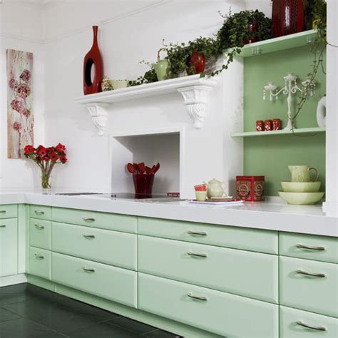 kitchen  mint green cabinets white wall red kitchen