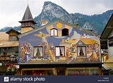 The famous painted houses of Oberammergau, Bavaria ...