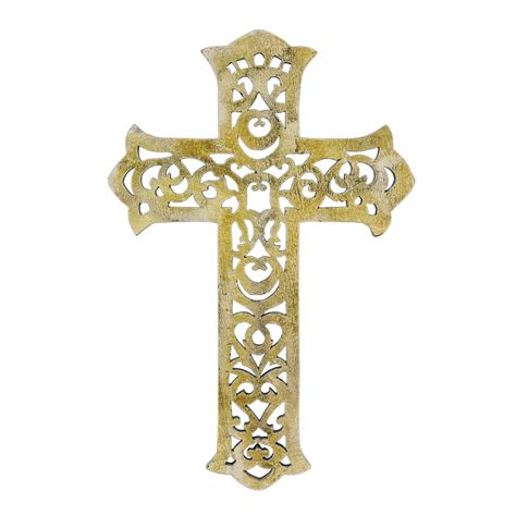 15 quot worn white decorative wooden wall cross