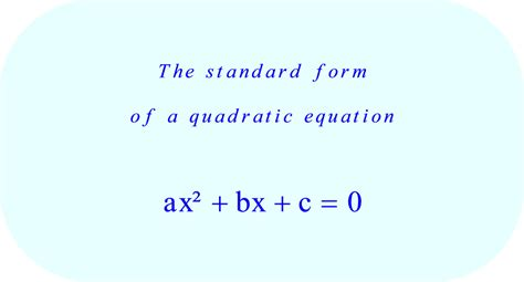 quadratic equations in standard form exles tessshebaylo
