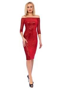 Red Sequin Midi Dress