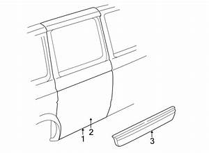 2005 Gmc Safari Door Molding  Black  W  O Wide Molding  Body Color  Red  Body Color  W  Wide