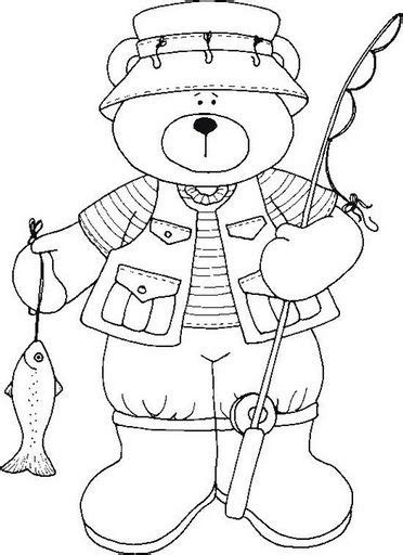 summer fishing bear  color colorful pictures coloring