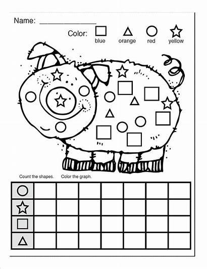 Shapes Shape Worksheets Worksheet Coloring Pig Kindergarten