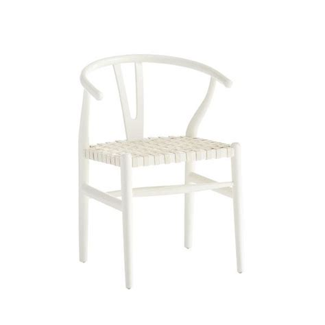 white wishbone dining chair with white woven leather seat