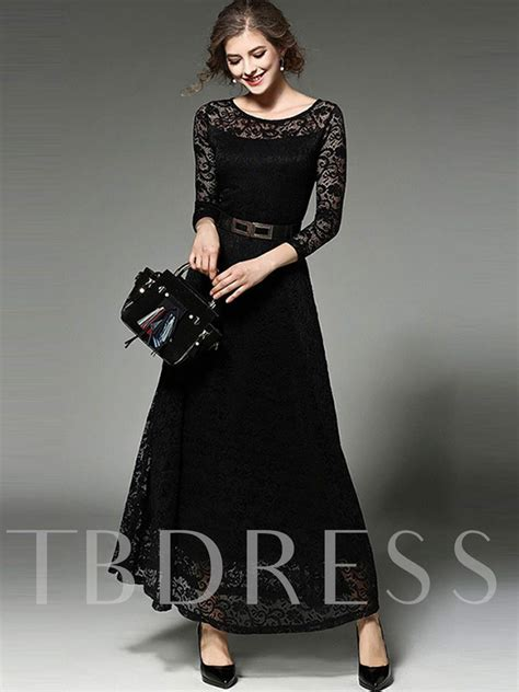 solid color long sleeve lace womens maxi dress tbdresscom