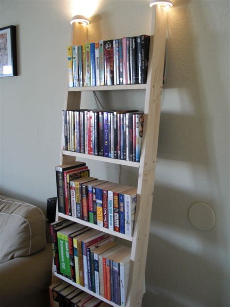 Rustic Wooden Ladder Bookshelf With Top Lights Part Of