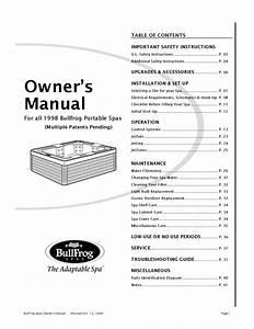 Bullfrog-spa-owners-manual-1998 By Envirosmarte Hot Tubs  U0026 Swim Spas