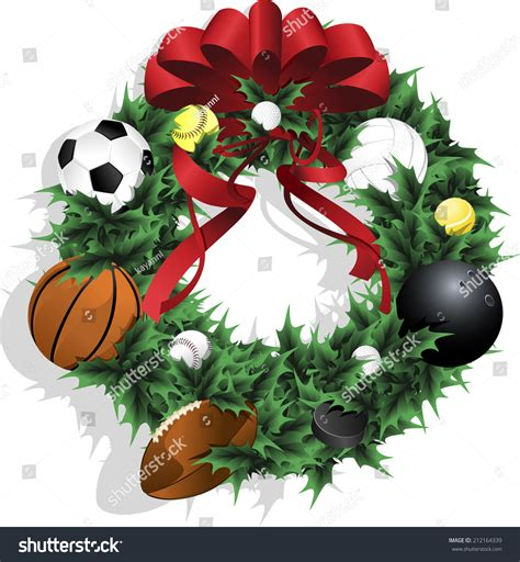 illustration of a christmas sports wreath made of holly