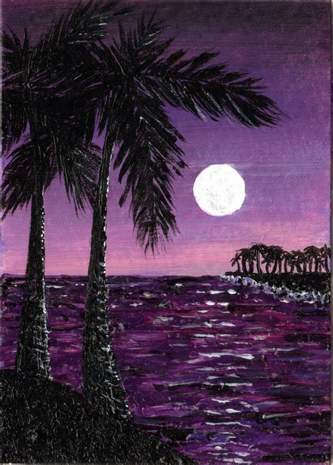 ebay  aceo original art ocean water moon palm tree