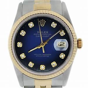 Rolex Datejust 16233 Blue Diamond Dial Jubilee Two Tone Watch