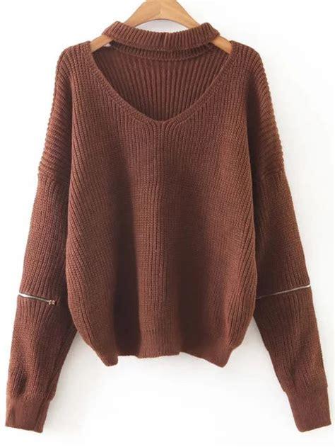 sweaters com coffee choker v neck zipper sleeve sweater shein sheinside