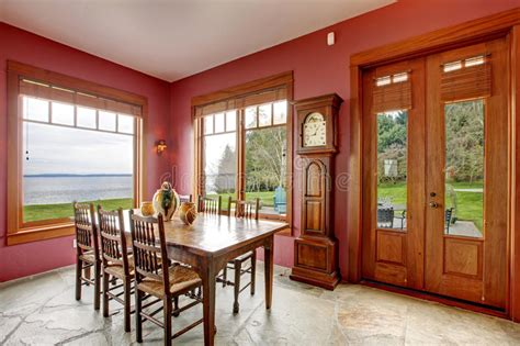 burgundy dining room  antique clock royalty  stock