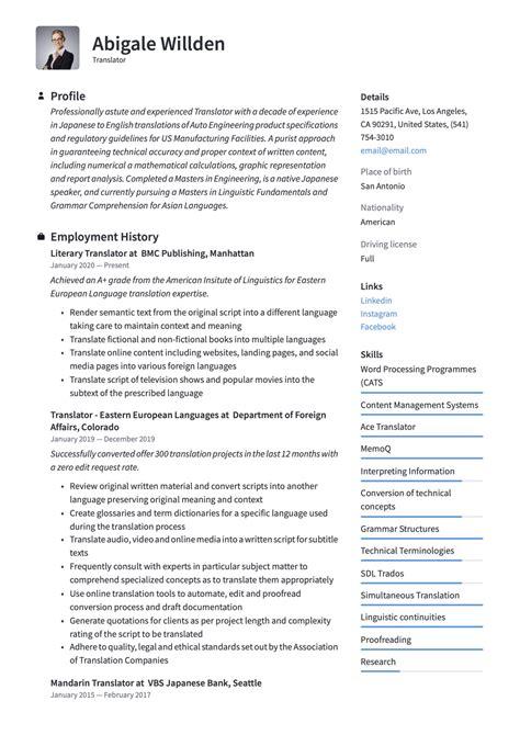 translator resume writing guide  templates