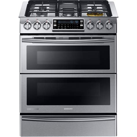 shop samsung 30 in 5 2 4 cu ft 3 3 cu ft oven convection dual fuel range stainless steel