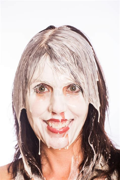 Woman With Milk On Her Face Stock Photo - Image of splash