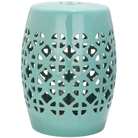 Garden Stool by Safavieh 18 5 In Robins Egg Blue Ceramic Barrel Garden