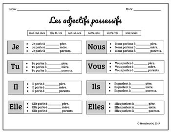 french possessive adjectives scoot les adjectifs