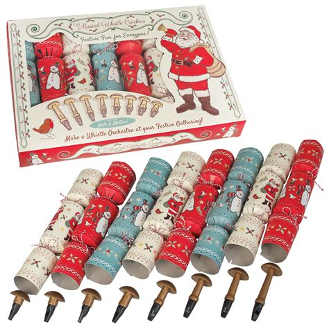 set of 8 crackers christmas whistle orchestra dotcomgiftshop