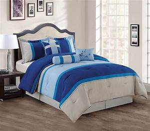 7, Piece, Navy, Blue, Gray, Comforter, Set