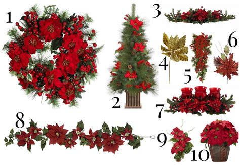 christmas decorating with artificial poinsettias