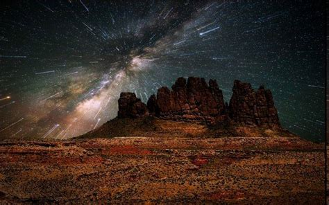 Nature Landscape Desert Starry Night Long Exposure