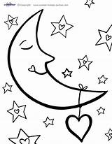Moon Coloring Pages Printable Printables sketch template